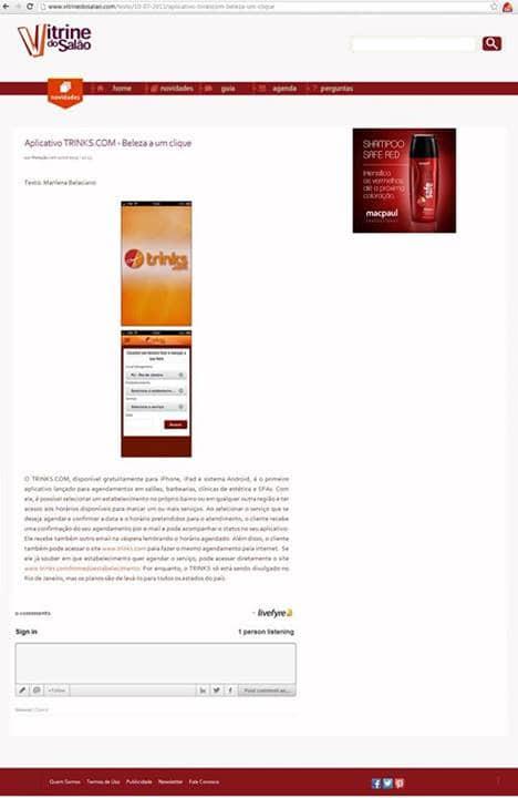 Aplicativo Trinks no Blog Vitrine