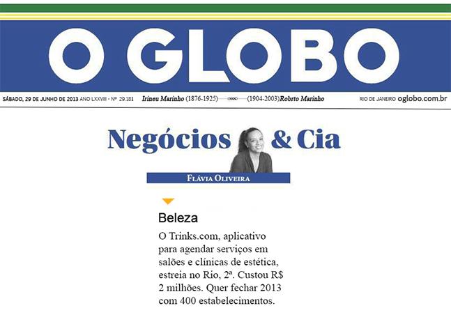 Materia jornal O Globo Trinks
